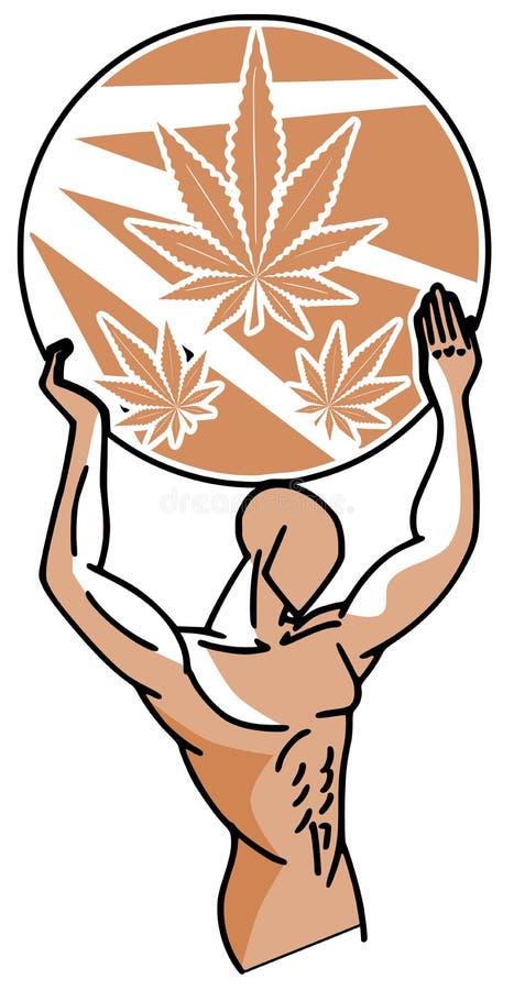 Hombre estilizado con las hojas de la marijuana ilustración del vector