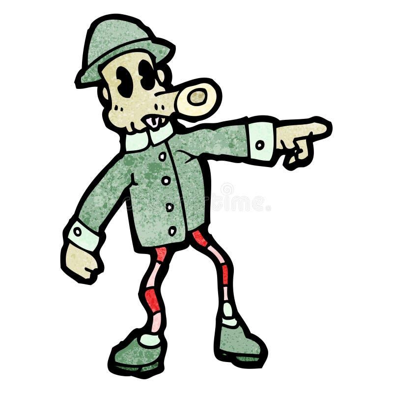 hombre extraño del ejército de la historieta ilustración del vector