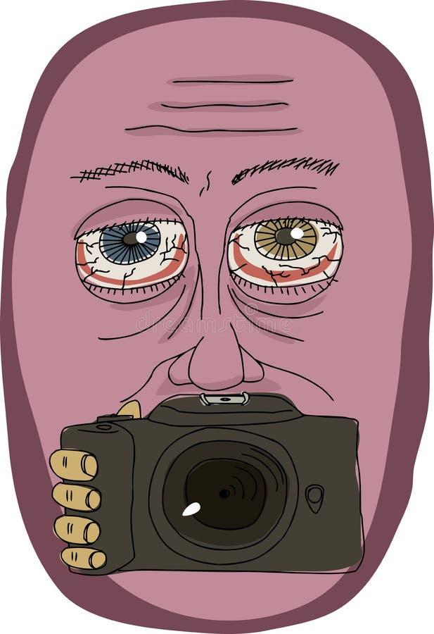 Hombre extraño que sostiene la cámara stock de ilustración
