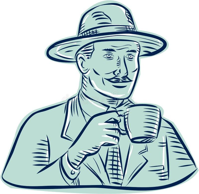 Hombre Fedora Hat Drinking Coffee Etching stock de ilustración