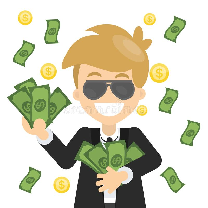 Hombre feliz con el dinero stock de ilustración