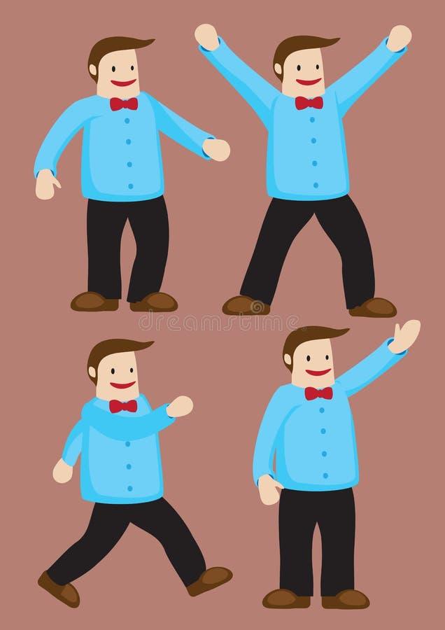 Hombre feliz con el ejemplo rojo del vector de la corbata de lazo ilustración del vector