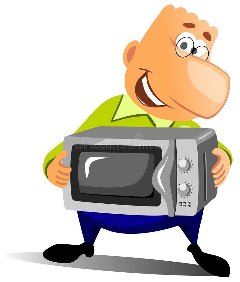 Hombre feliz con el horno microondas. libre illustration