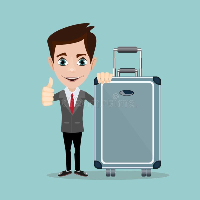 Hombre feliz con equipaje en fondo Un hombre de negocios con las maletas stock de ilustración