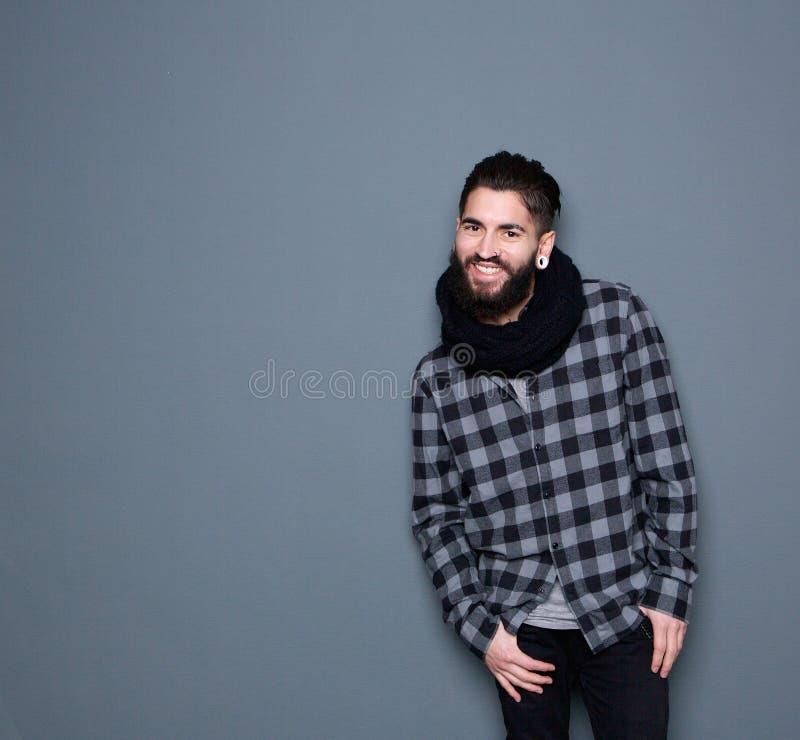 Hombre feliz con la barba fotos de archivo libres de regalías