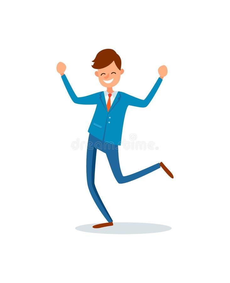Hombre feliz con logros, Lucky Businessman stock de ilustración