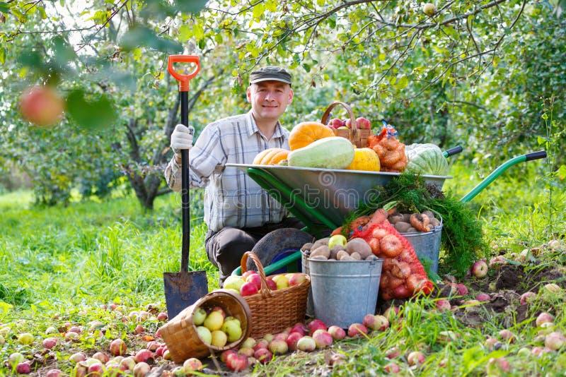 Hombre feliz con una cosecha en el jardín imagenes de archivo