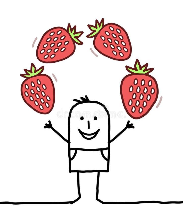 Hombre feliz de la historieta con las fresas stock de ilustración