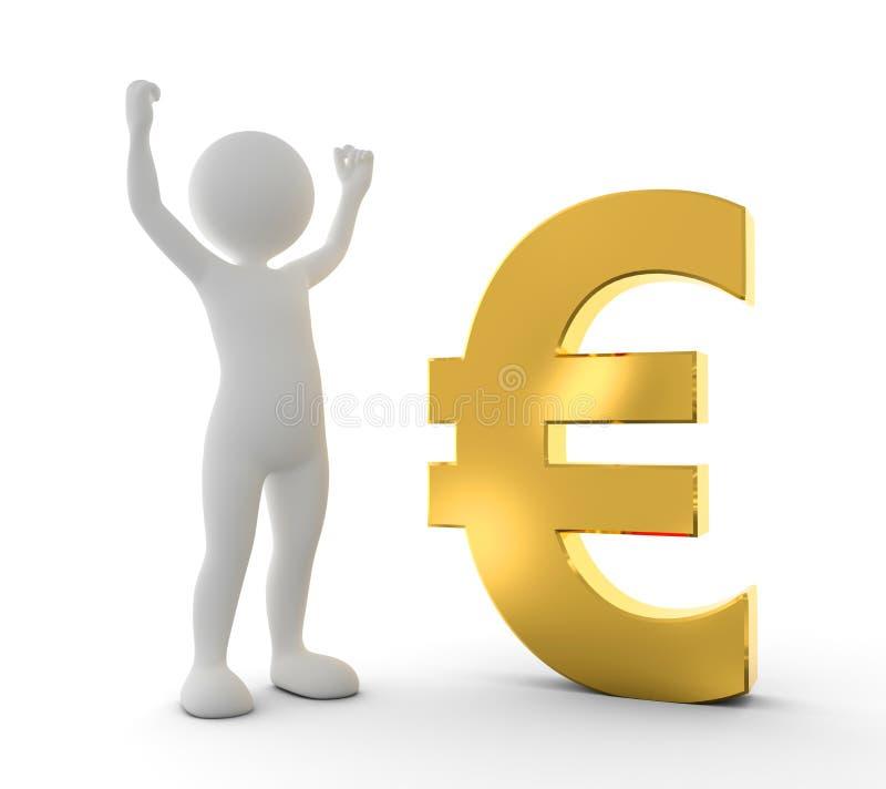 Hombre feliz de Toon que aumenta la mano para un triunfo al lado de símbolo del EURO del oro libre illustration