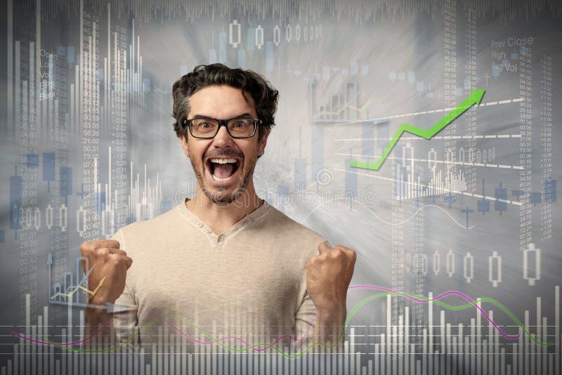 Hombre feliz del inversor imágenes de archivo libres de regalías