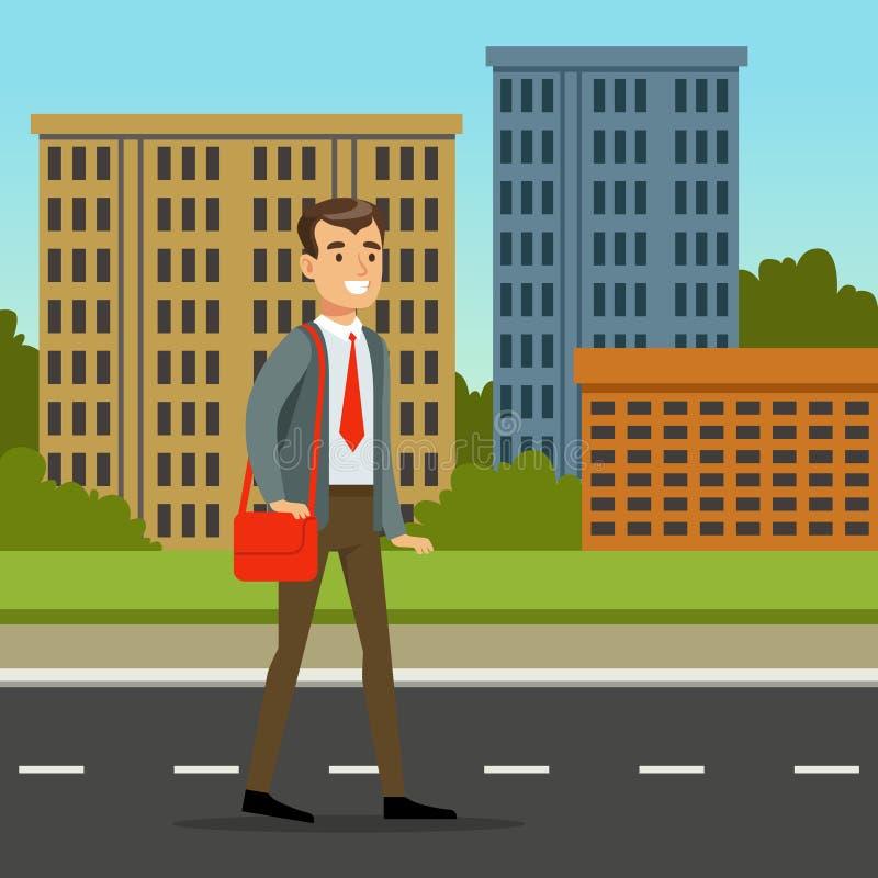 Hombre feliz en ropa oficial que camina abajo de la calle con el bolso rojo Fondo con los edificios de la ciudad Vector plano de  ilustración del vector