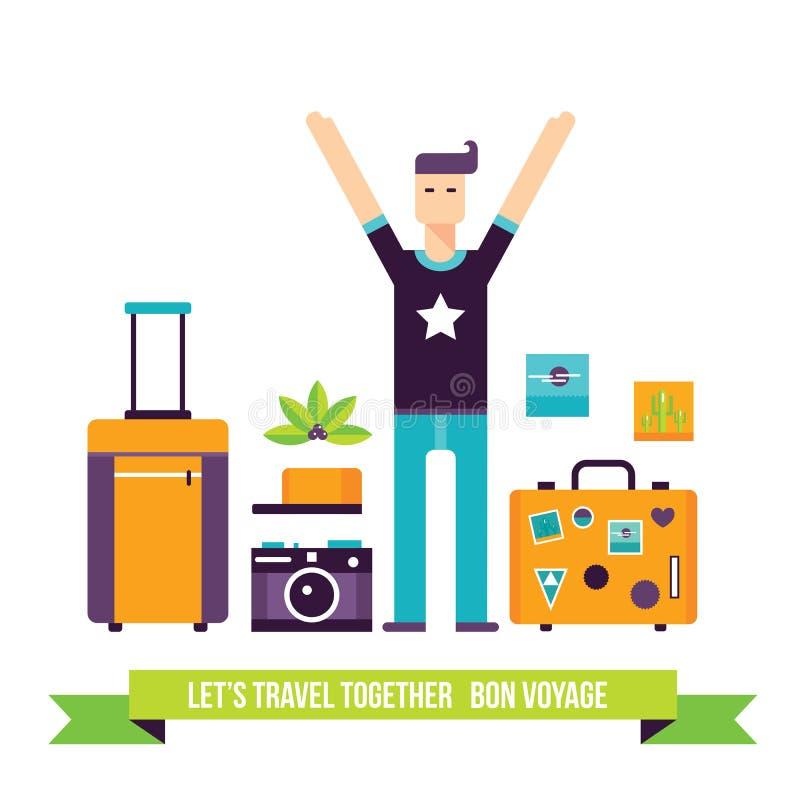 Hombre feliz listo para el sistema del icono de las vacaciones del turismo de las aventuras del viaje ilustración del vector