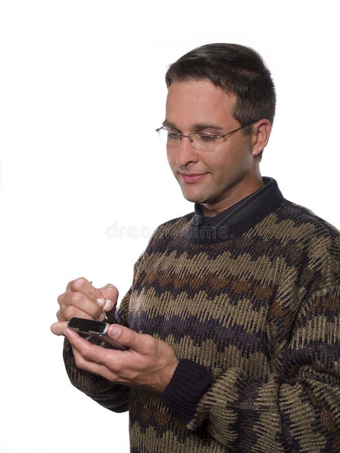 Hombre feliz ocasional del adminículo foto de archivo