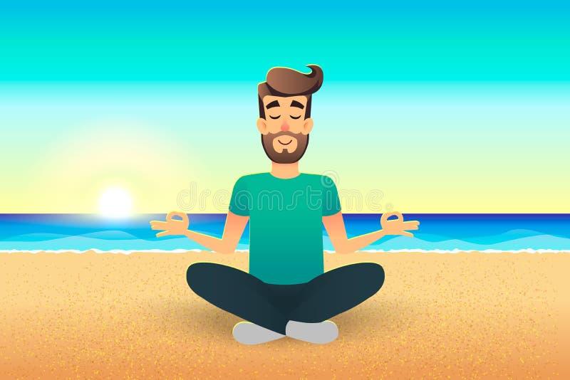 Hombre feliz plano de la historieta que se sienta en la playa y meditar Ejemplo de la calma relajada masculina hermosa en actitud ilustración del vector