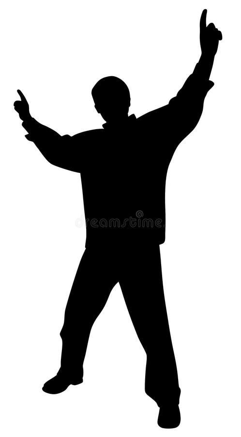 Hombre feliz que celebra la victoria o que la anima con las manos aumentadas que destacan los fingeres stock de ilustración