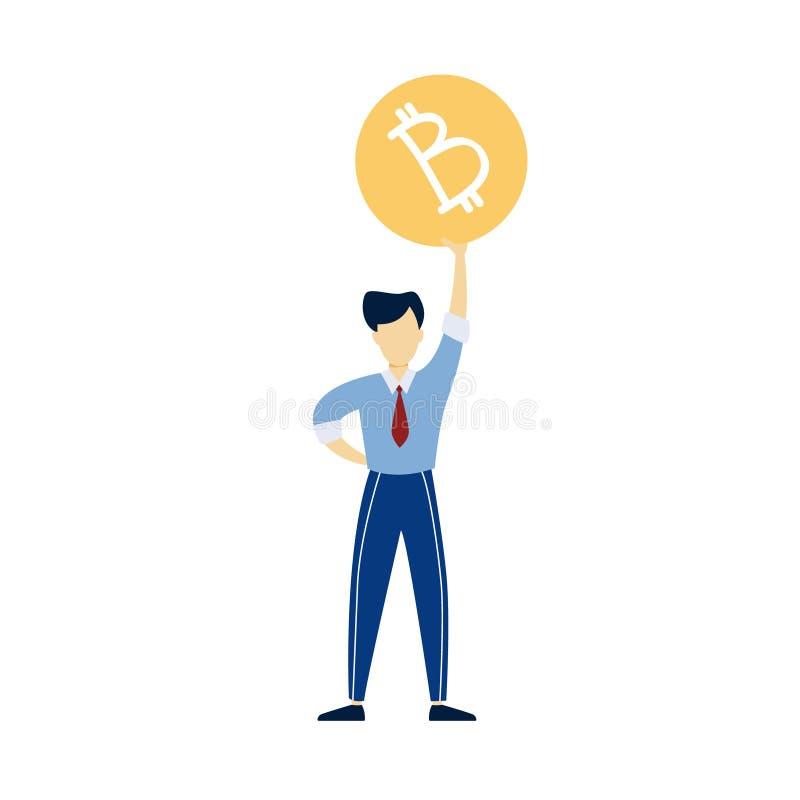 Hombre feliz que lleva a cabo el bitcoin gigante Hombre de negocios con cryptocurrency stock de ilustración