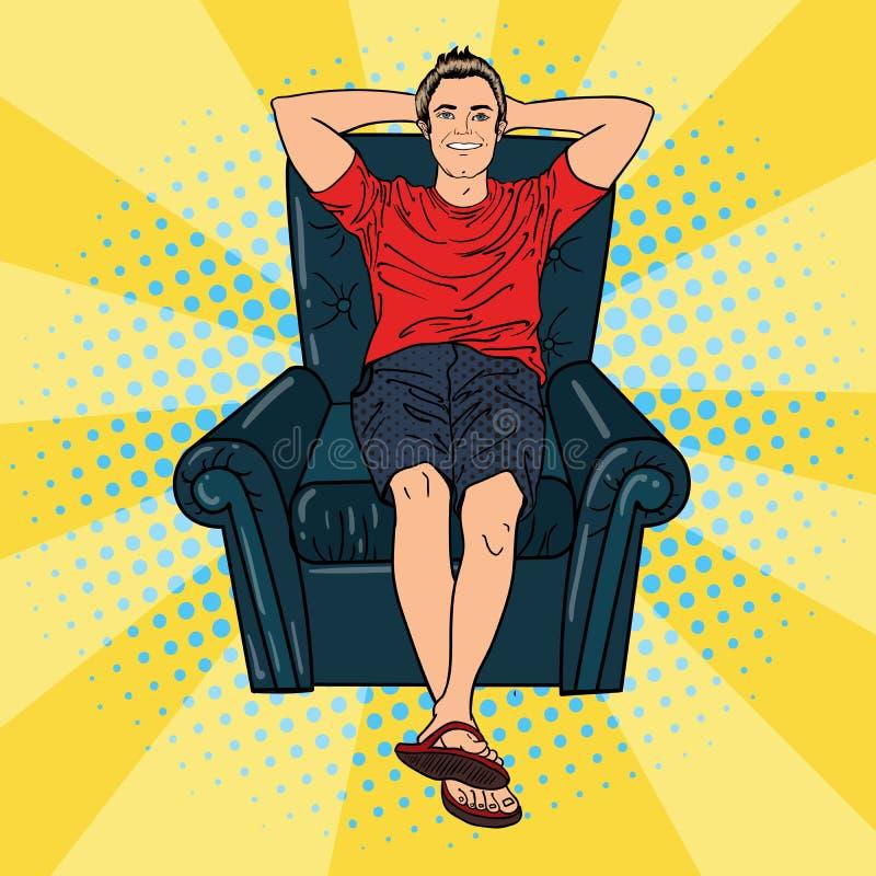 Hombre feliz que se relaja en silla cómoda Arte pop stock de ilustración