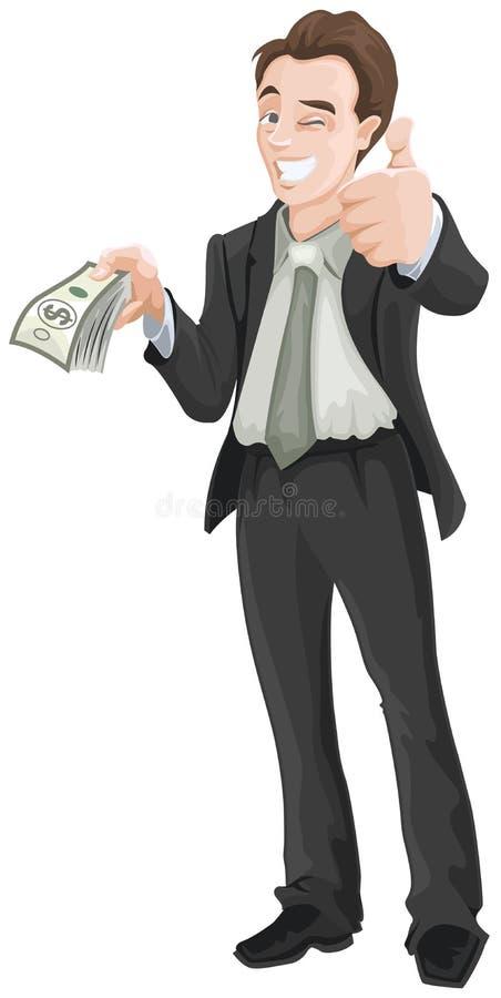 Hombre feliz que sostiene el dinero y que muestra muy bien stock de ilustración