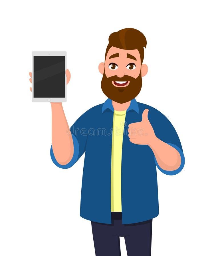 Hombre feliz y acertado que muestra la tableta y los pulgares encima o como de la muestra stock de ilustración