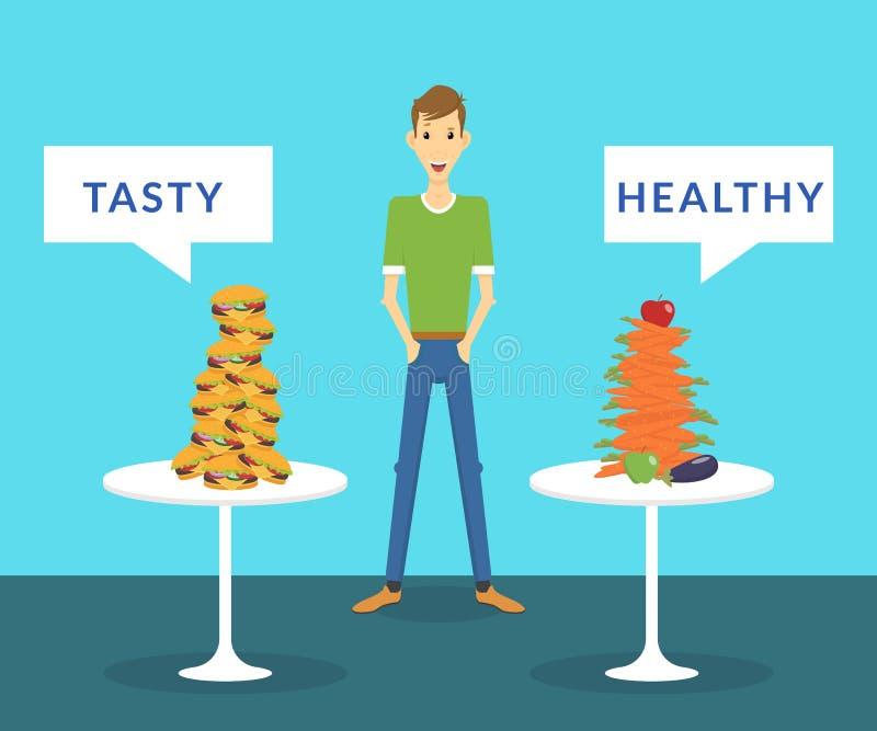 Hombre fino que se coloca entre las hamburguesas sabrosas y las zanahorias sanas que eligen qué mejor para él ilustración del vector