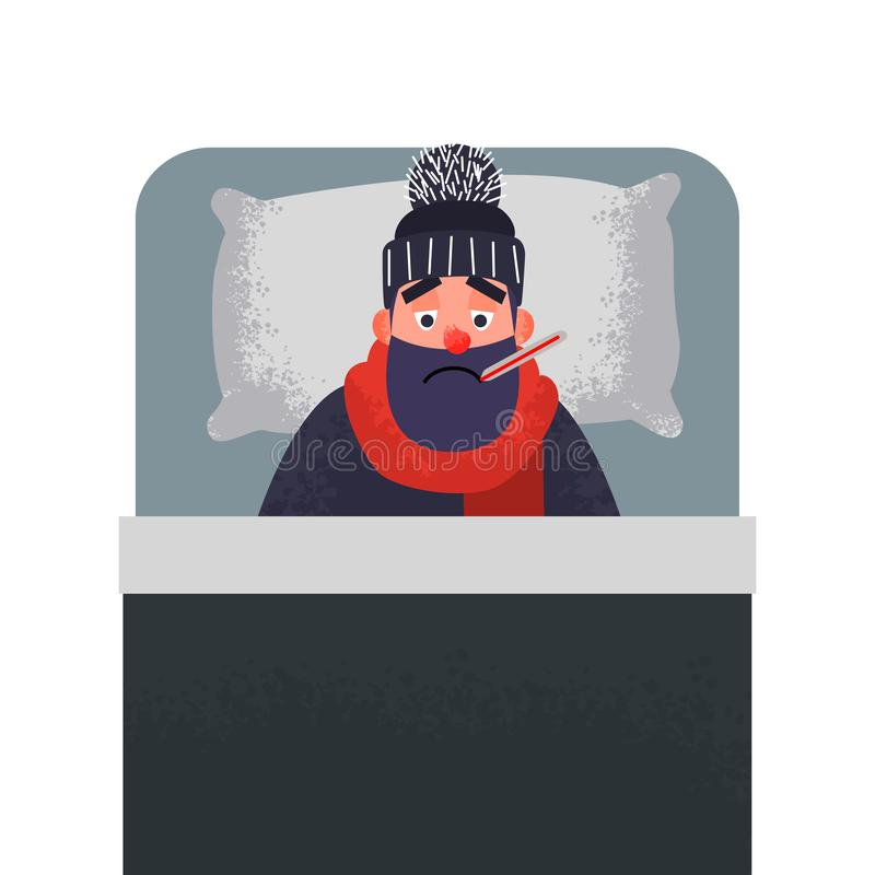 Hombre frío enfermo en cama con un termómetro ilustración del vector