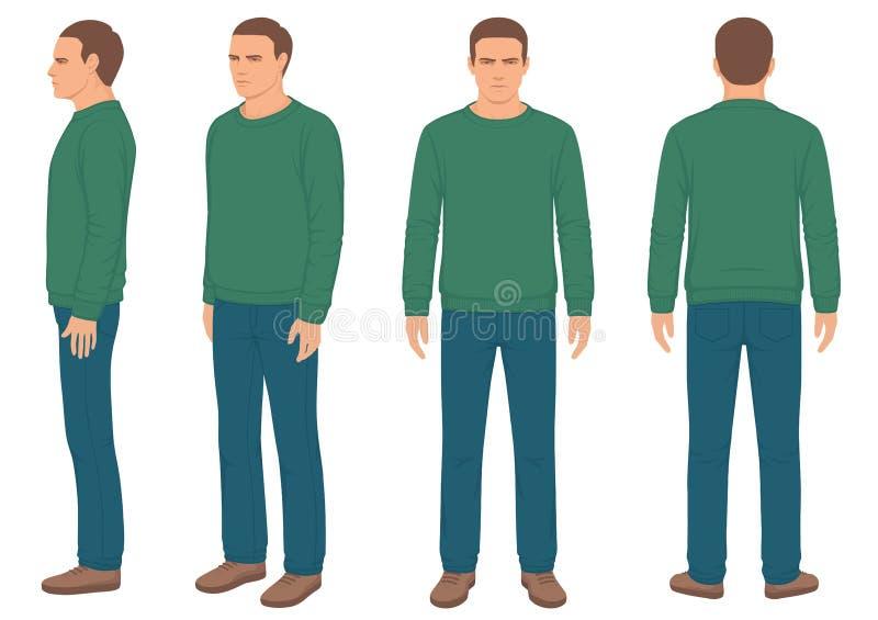 Hombre, frente, parte posterior y vista lateral stock de ilustración
