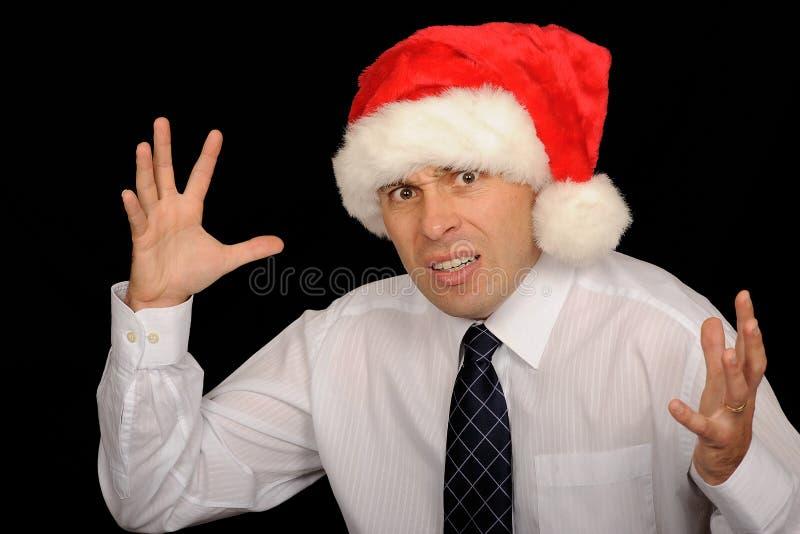 Hombre frustrado de la Navidad foto de archivo