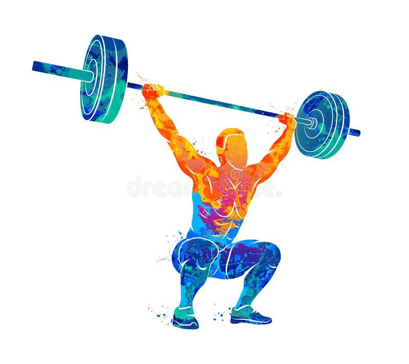Hombre fuerte powerlifting ilustración del vector