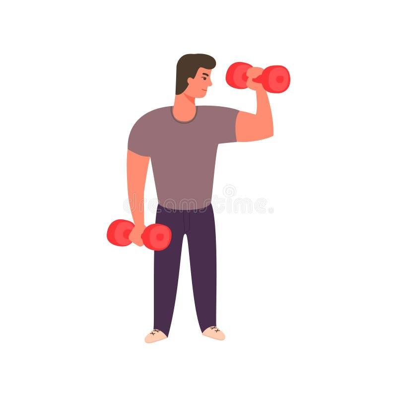 Hombre fuerte que se resuelve con pesas de gimnasia Arte del vector libre illustration