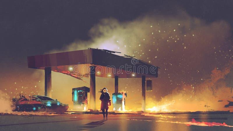 Hombre futurista que quema la gasolinera libre illustration