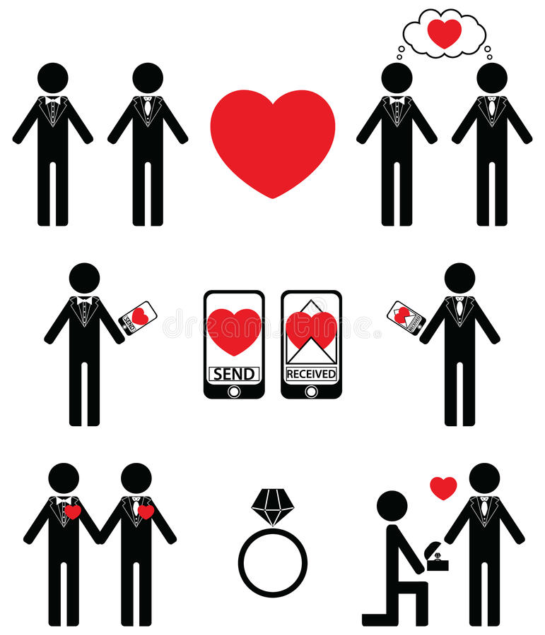 Hombre gay que cae en iconos del amor y del compromiso libre illustration