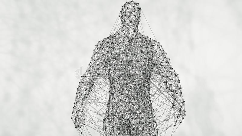 Hombre geométrico abstracto del plexo Contexto de la conexión del plexo representación 3d fotos de archivo libres de regalías