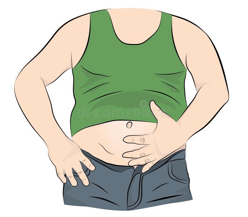 Hombre gordo con un vientre grande Ilustración del vector ilustración del vector