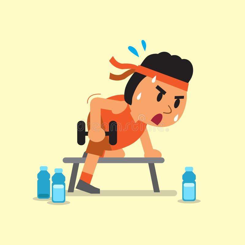 Hombre gordo de la historieta que hace ejercicio de la fila de la pesa de gimnasia stock de ilustración