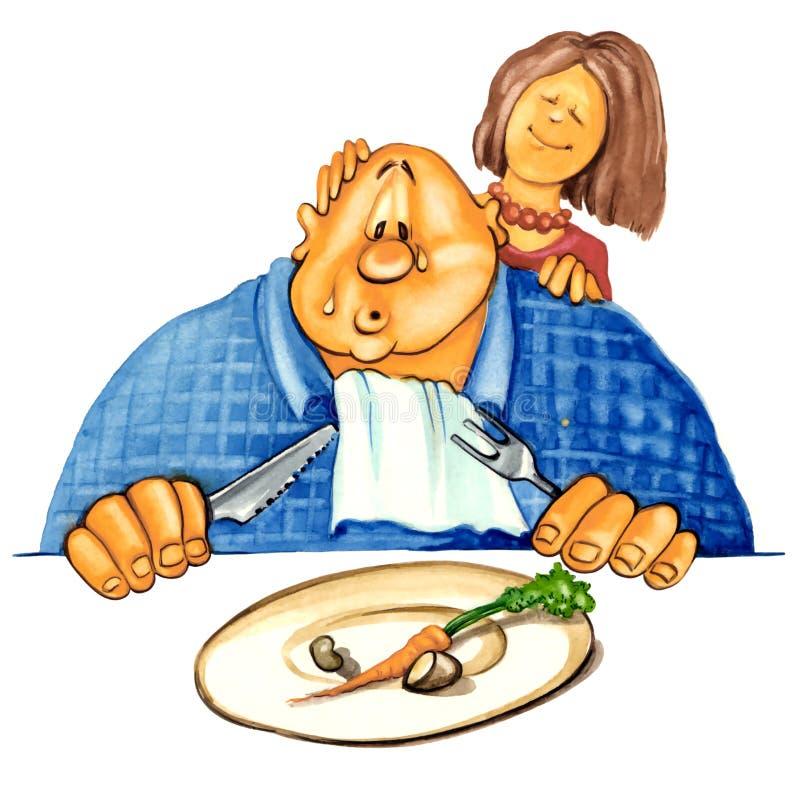 Hombre gordo en dieta stock de ilustración