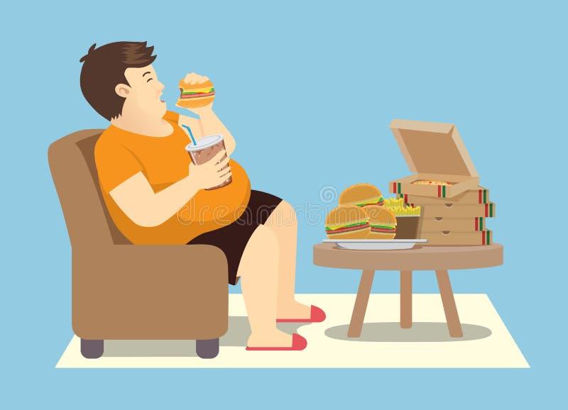 Hombre gordo que come excesivamente con muchos alimentos de preparación rápida en la tabla libre illustration