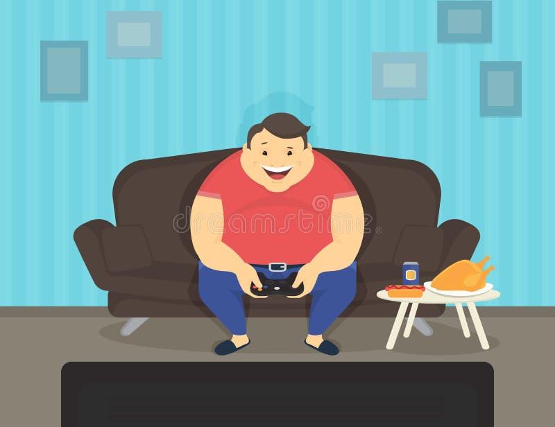 Hombre gordo que se sienta en casa en el sofá que juega los videojuegos y la consumición stock de ilustración