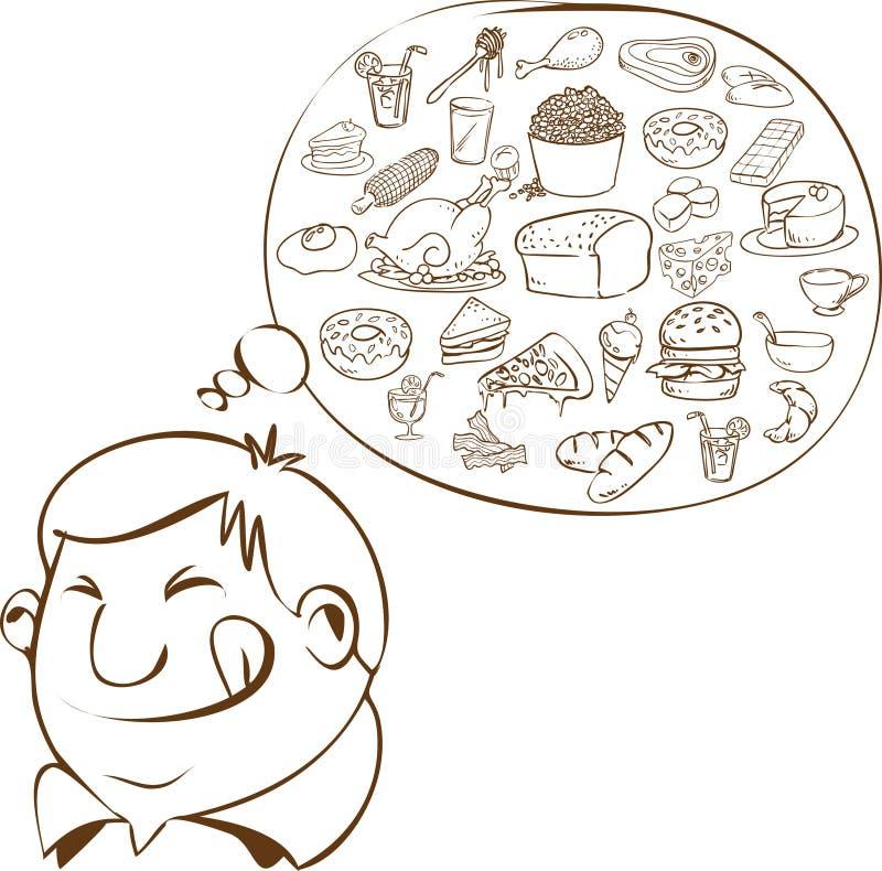 Hombre gordo que sueña para la comida ilustración del vector