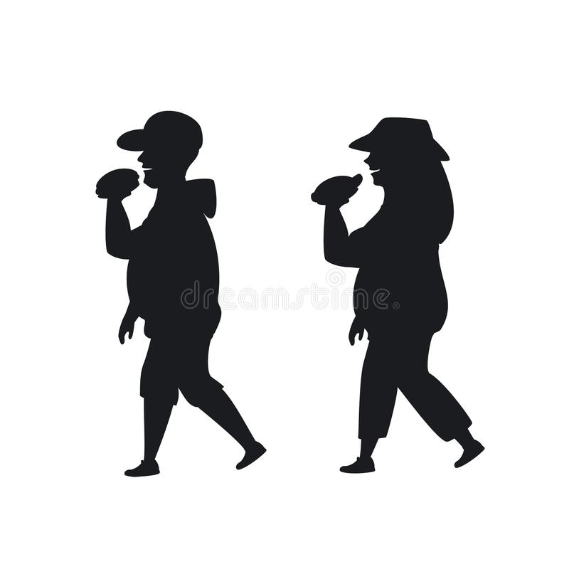 Hombre gordo y mujer que caminan comiendo los alimentos de preparación rápida en la silueta de la manera ilustración del vector