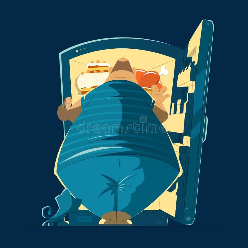 Hombre gordo y refrigerador abierto de la noche libre illustration