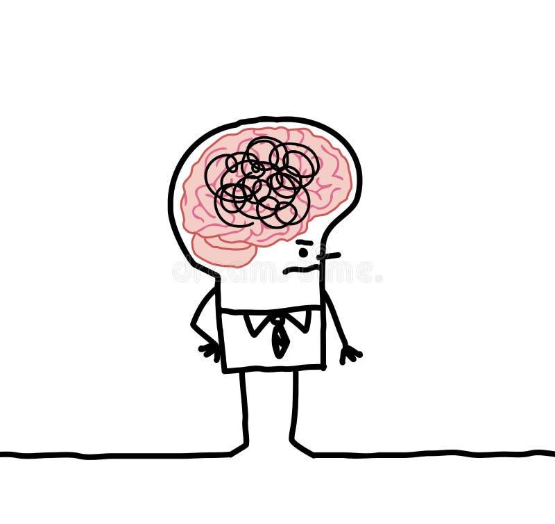 Hombre grande y confusión del cerebro libre illustration