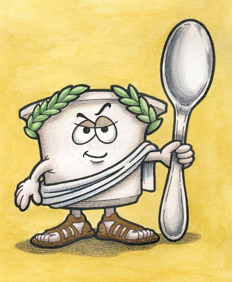 Hombre griego del yogur con la cuchara imagenes de archivo
