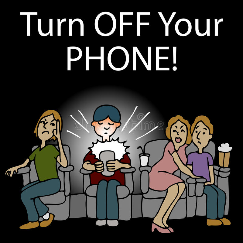 Hombre grosero Texting en un cine libre illustration