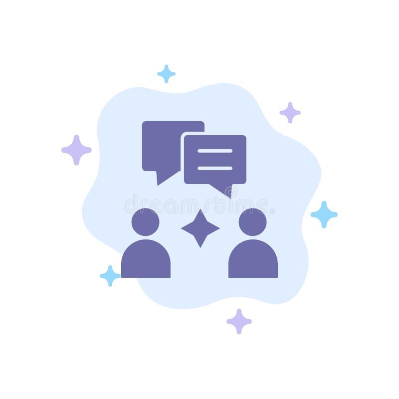Hombre, grupo, icono azul de charla en fondo abstracto de la nube ilustración del vector