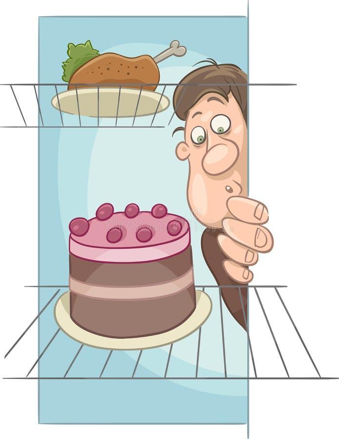 Hombre hambriento en historieta de la dieta ilustración del vector