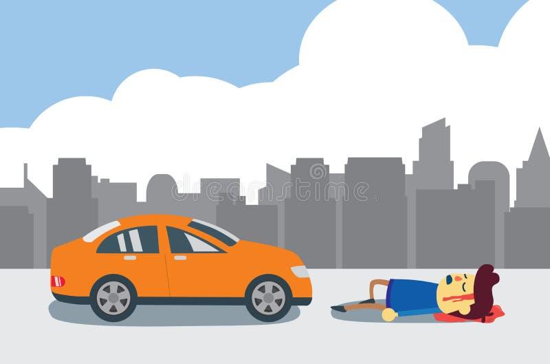 Hombre herido después de choque de coche stock de ilustración