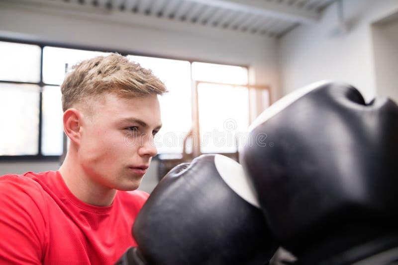 Hombre hermoso apto en el boxeo del gimnasio con su rival irreconocible imagen de archivo libre de regalías