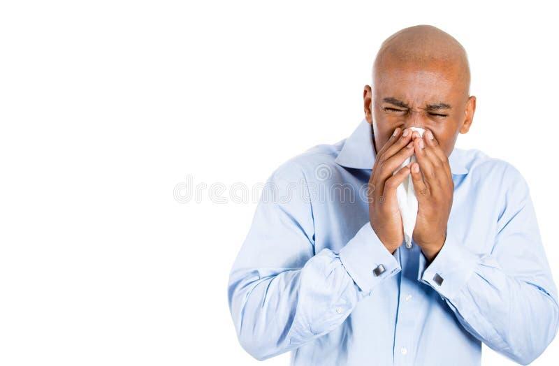 Hombre hermoso con alergia o frío fotos de archivo libres de regalías