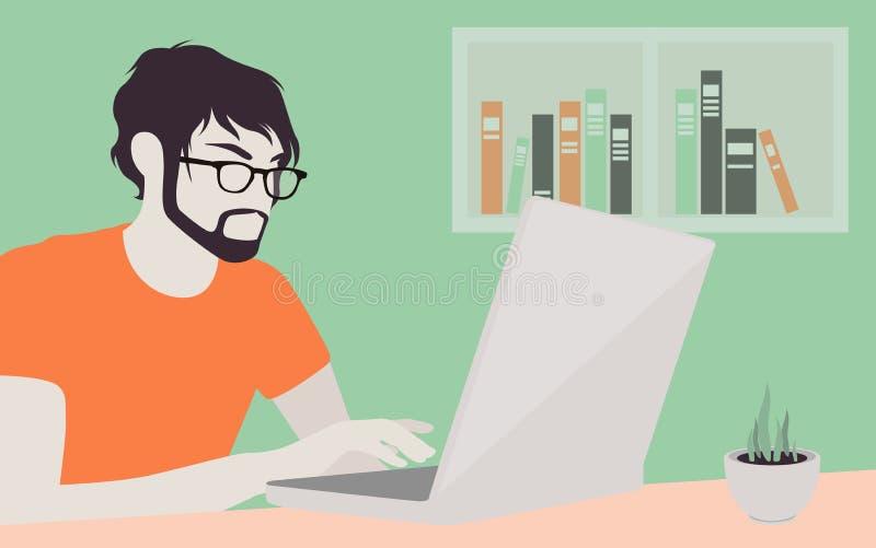 Hombre hermoso con el ejemplo del ordenador portátil ilustración del vector