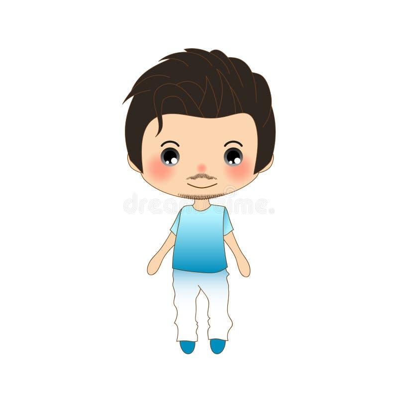 Hombre hermoso del bigote en camisa azul y los pantalones blancos libre illustration